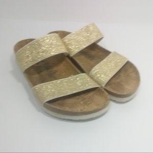 Birkenstock Curacao Gold Elastic Strap Sandals 10